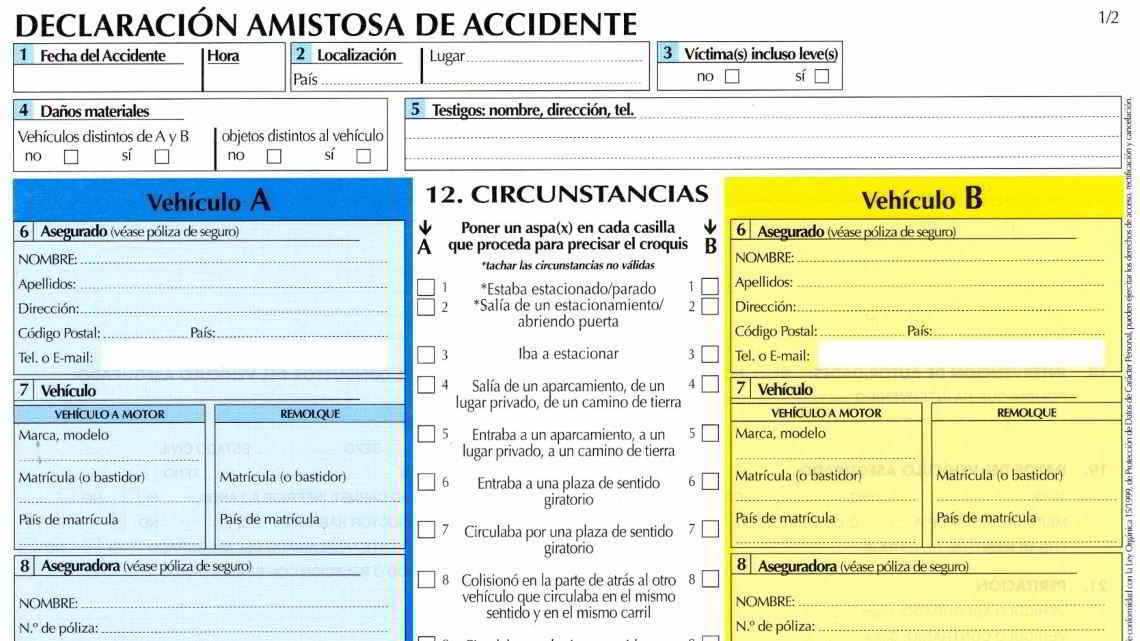 Parte amistoso de accidente de tráfico